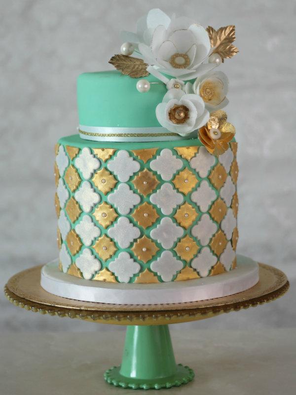 Mint green and gold chevron wedding