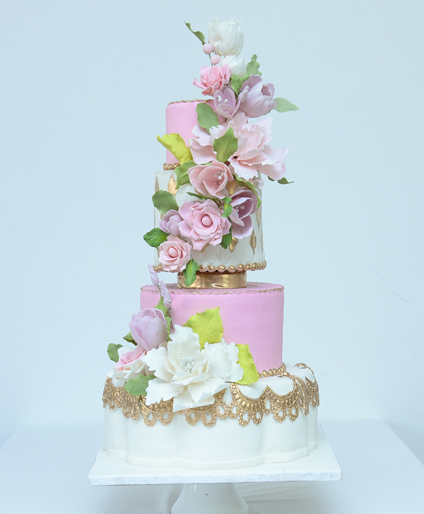 Baby pink wedding cake with Cascading Sugar Flowers