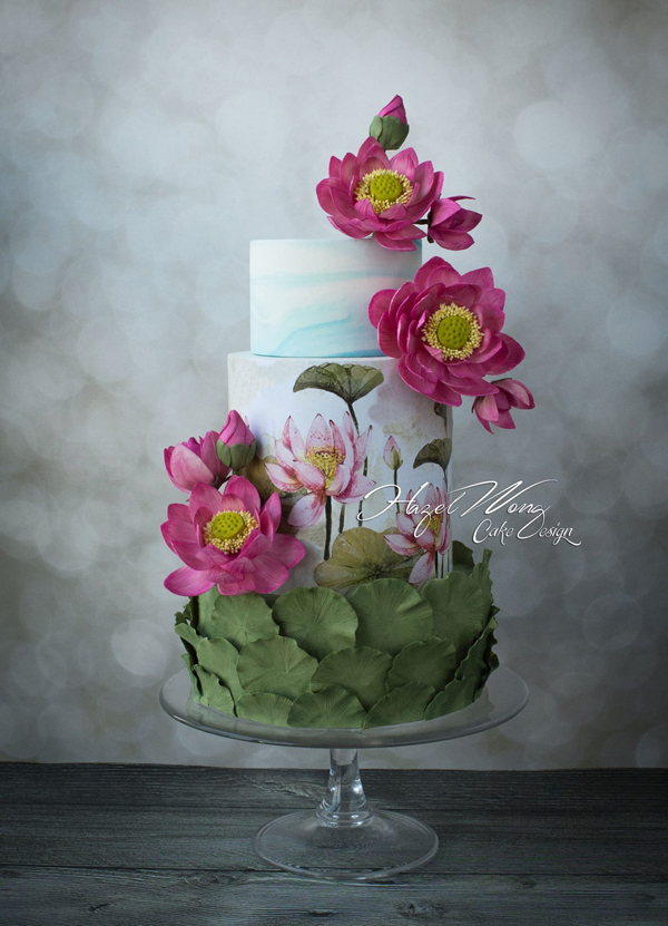 Island Flowers tropical wedding cake