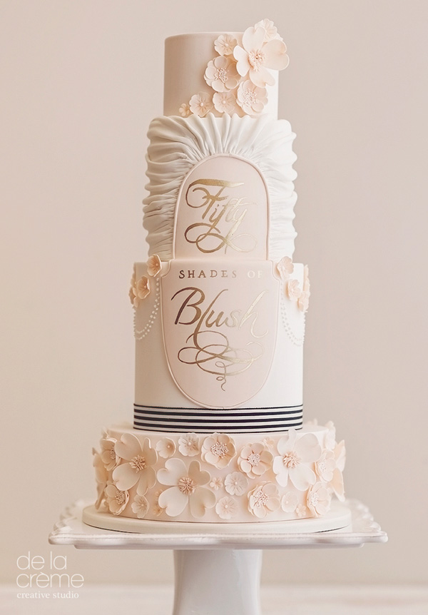 Baby pink Parisian Flair wedding cake
