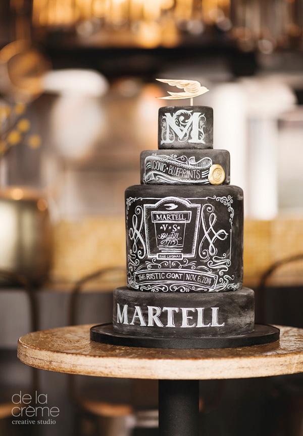 All black Chalkboard wedding cake