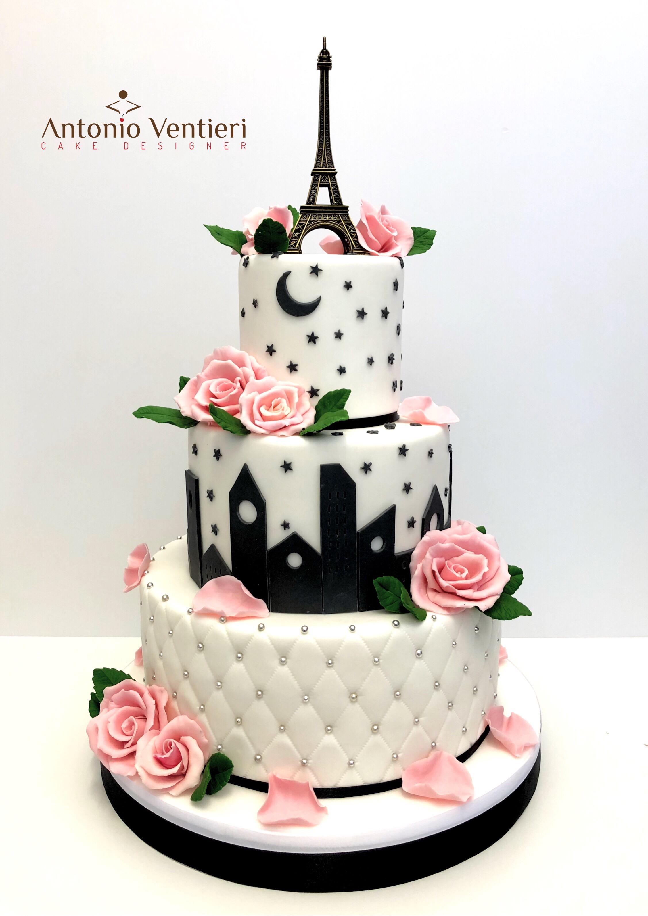 Black and white venetian birthday cake