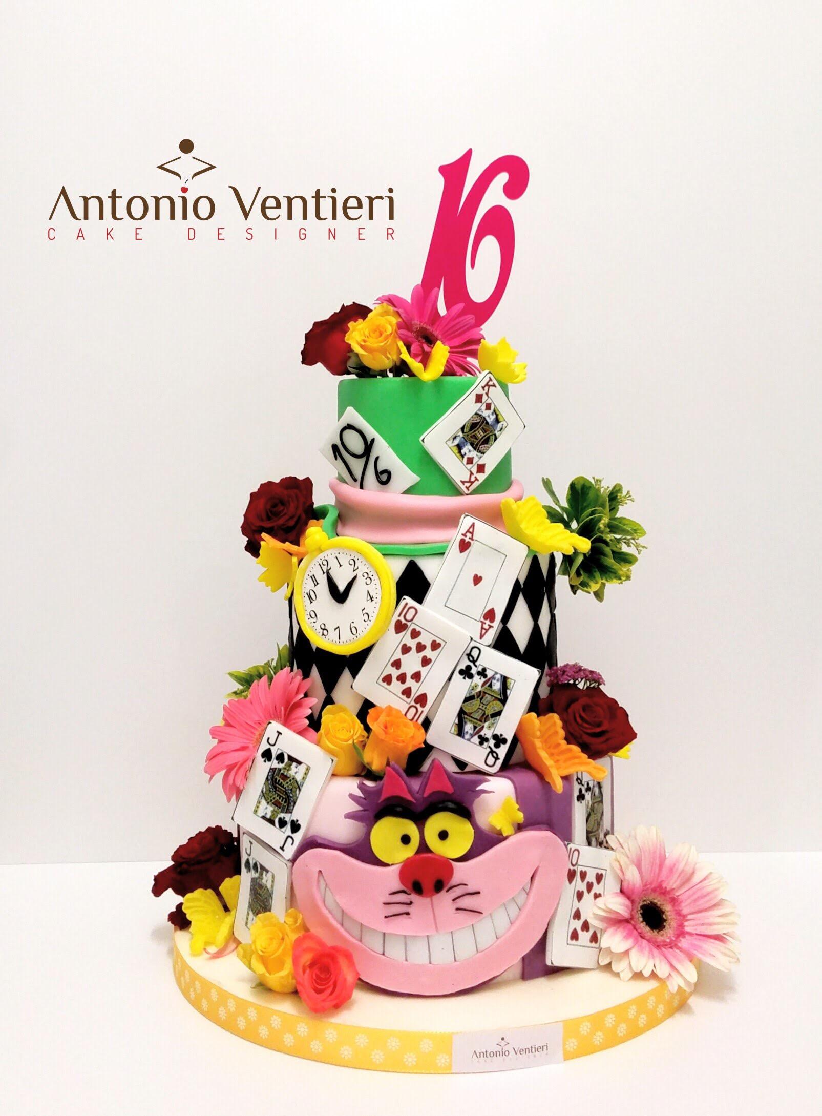Alice in Wonderland sweet sixteen birthday cake