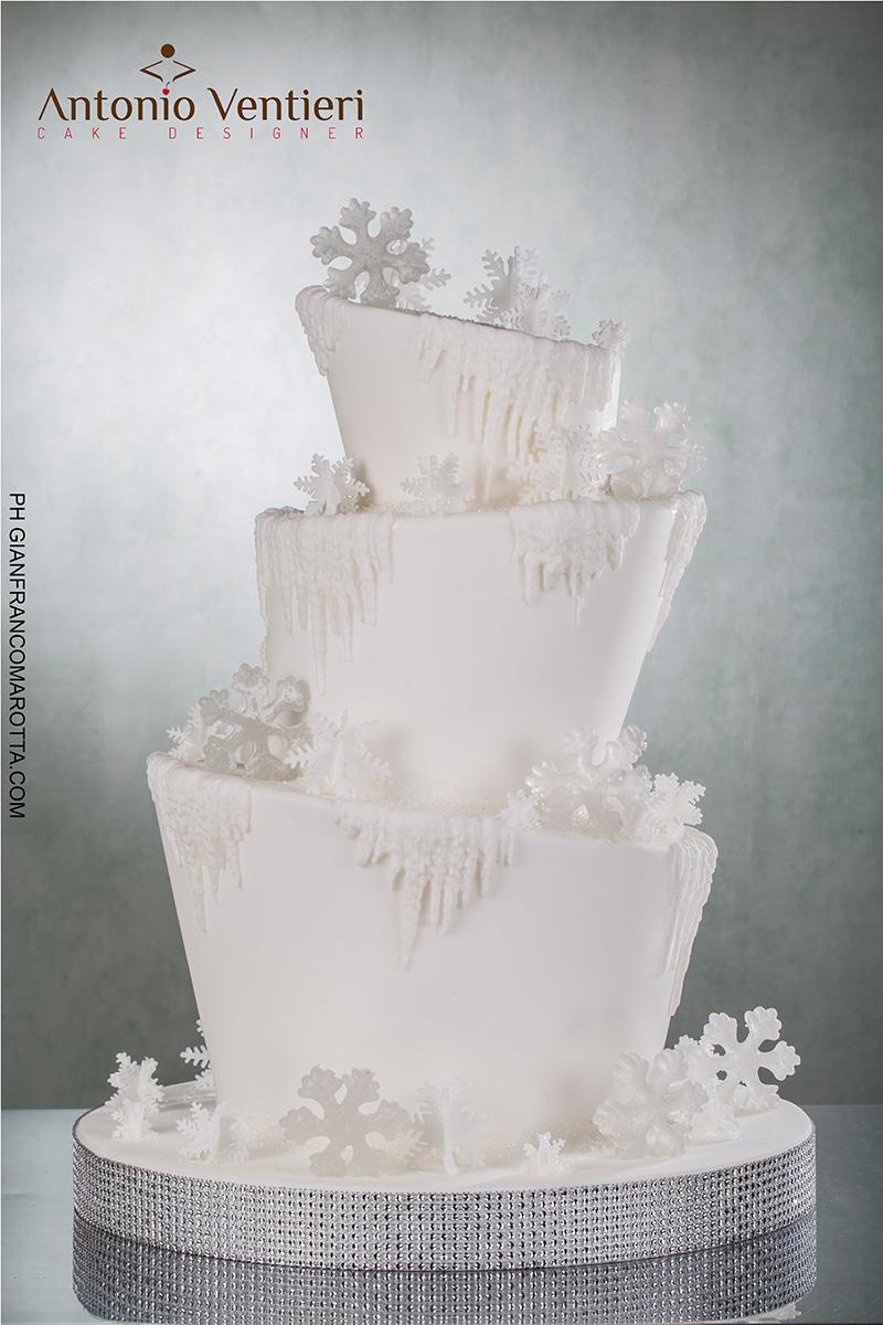 Topsy Turvy white cake with snowflakes