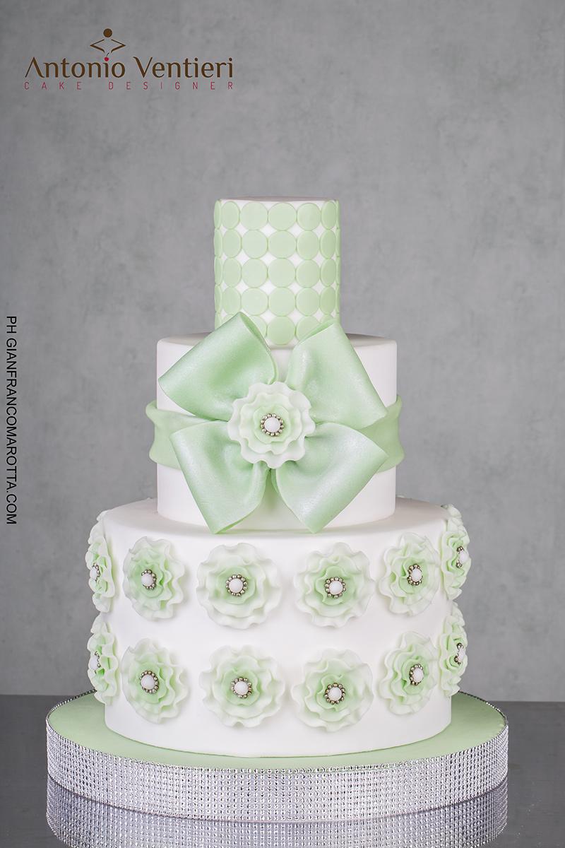 White and pastel green wedding cake