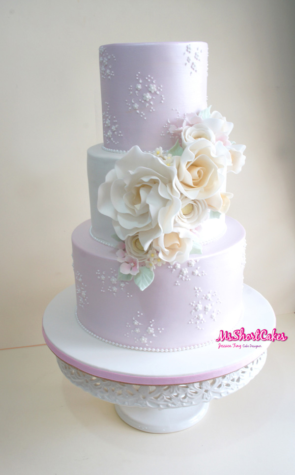 All baby pink wedding cake with sugar Flowers