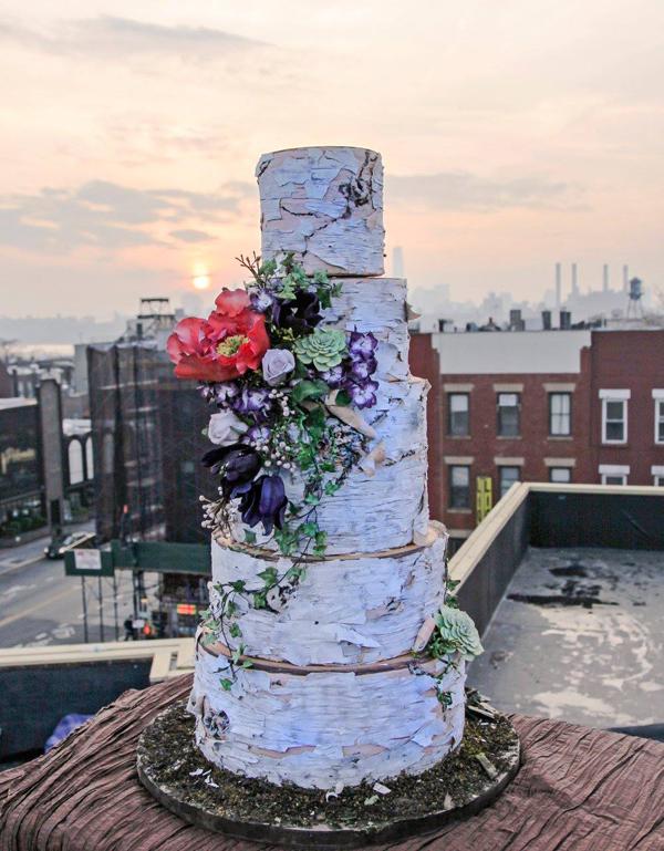 Rustic Bark Wedding with Sugar Flowers