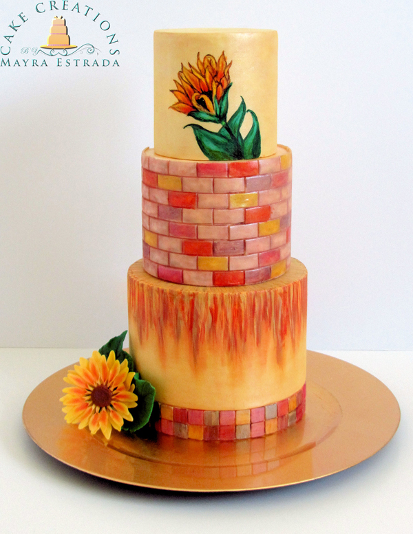 Hand Painted orange flower wedding cake