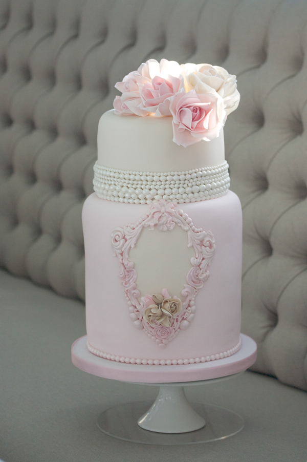 Baby pink baroque Wedding cake