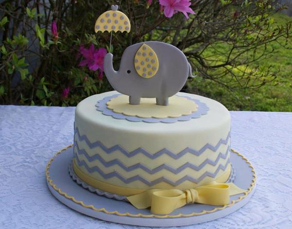 Chevron pattern elephant baby cake