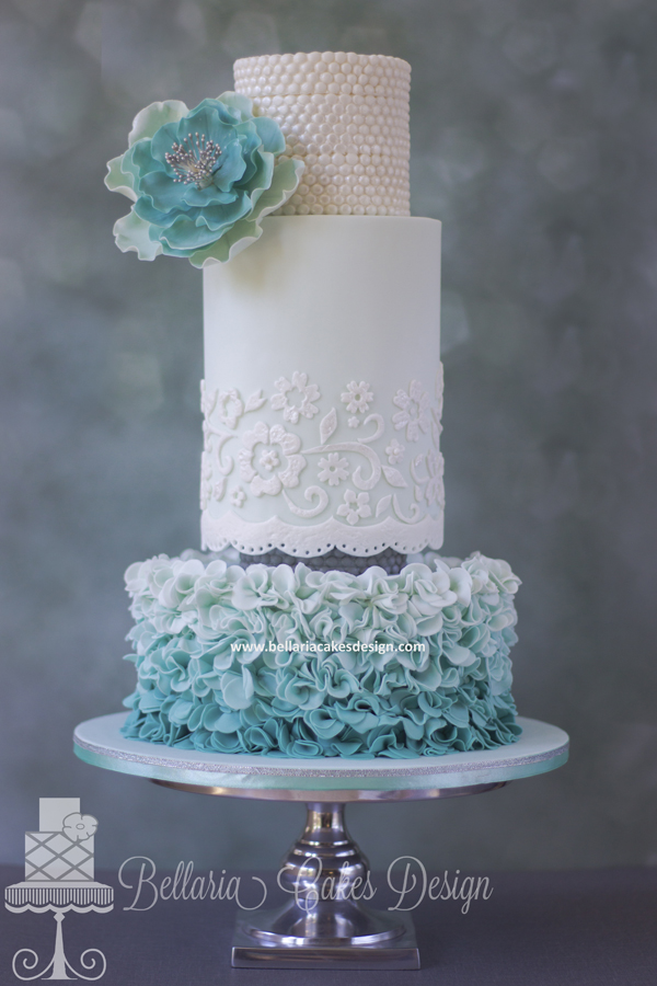 Turquoise Ruffle and Lace Cake