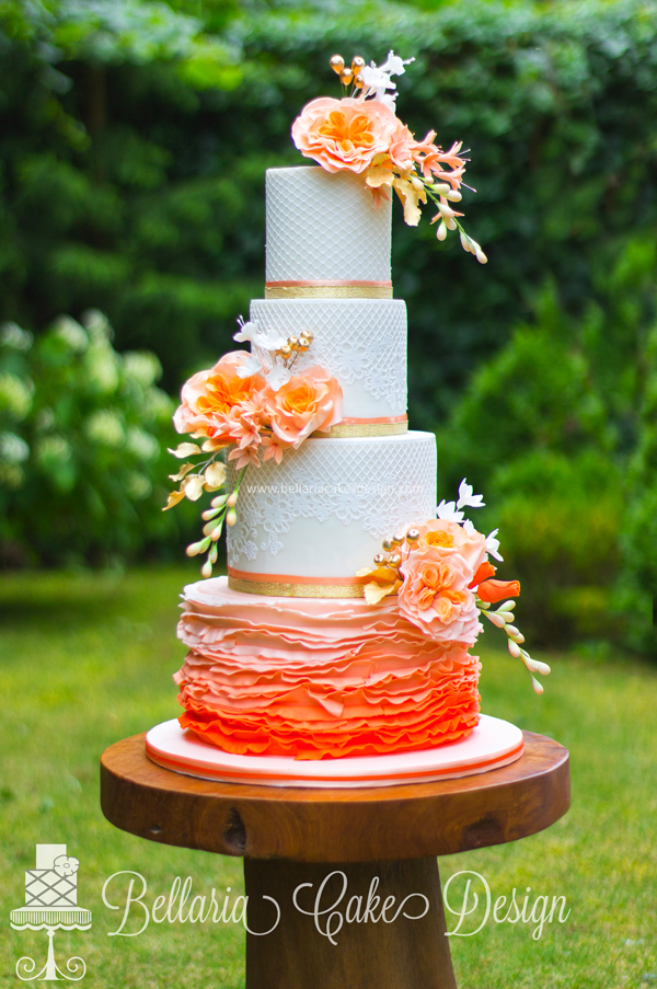 Orange Ruffle Wedding Cake