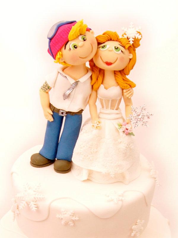 Pink Winter Wedding Cake Topper