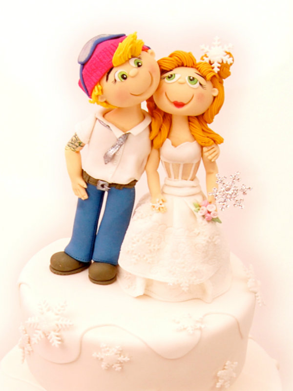 Pink Winter Wedding Cake Topper