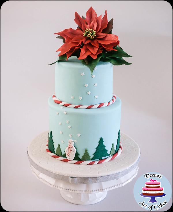 Pointsettia Winter Cake