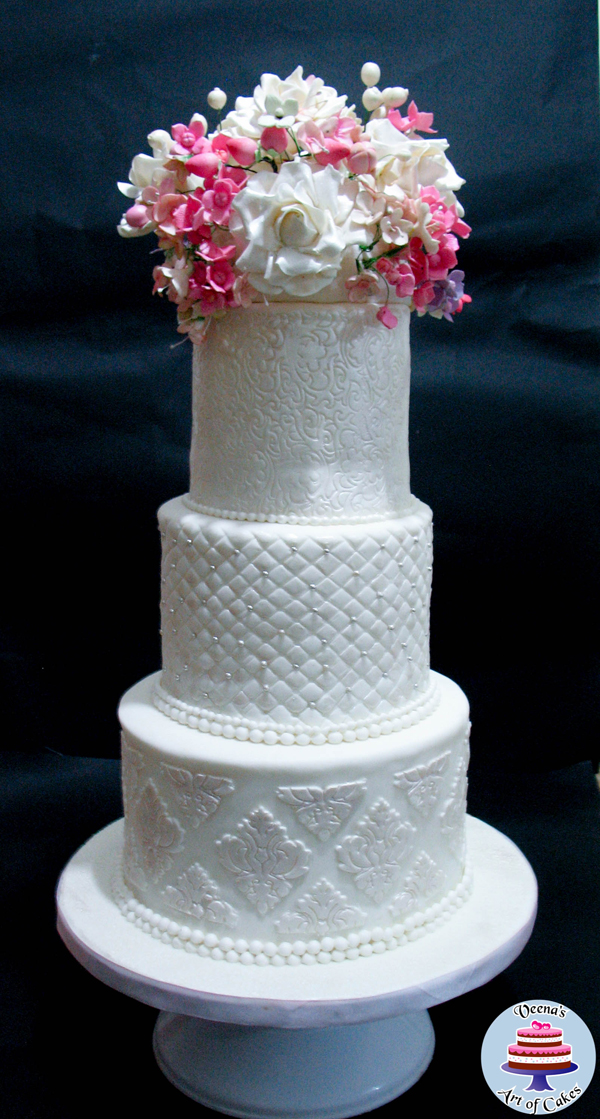 White Embossed Wedding Cake