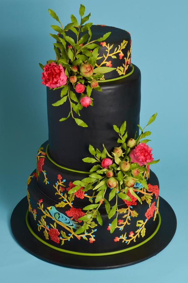 Black Floral Cake
