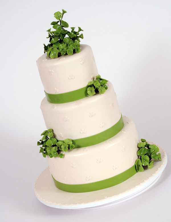 Green Floral Wedding Cake