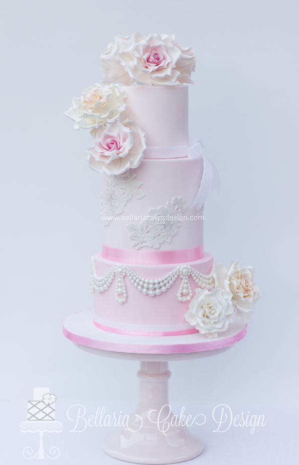 Elegant All baby Pink Floral Cake