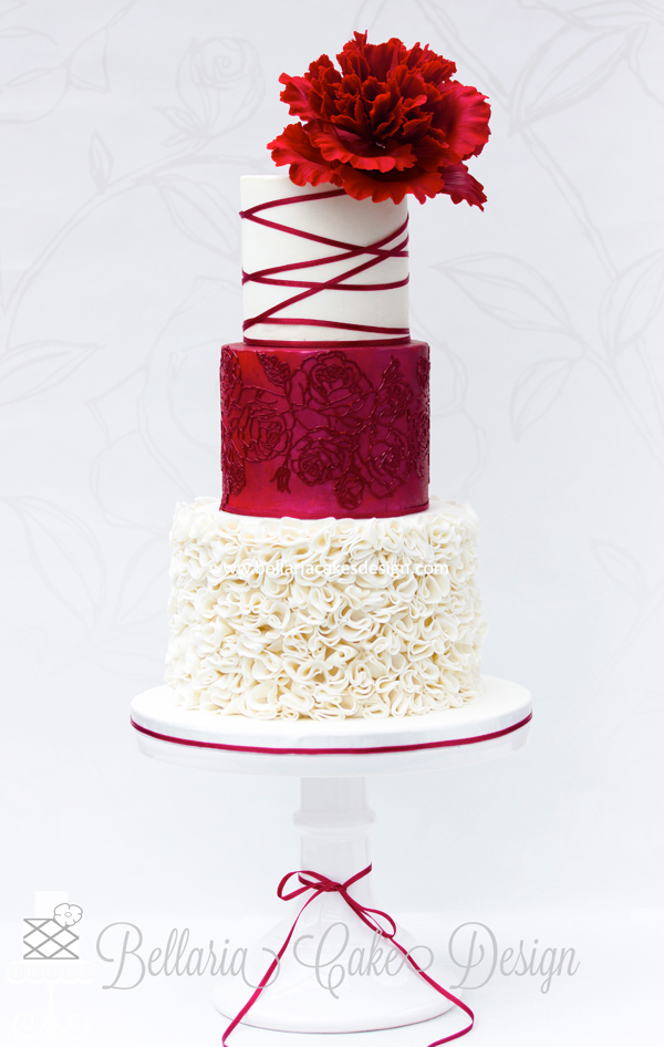 Red wedding cakes wedding decor ideas a gallery of fondant and gum paste wedding cakes from cake decorators around the world inspired junglespirit Gallery