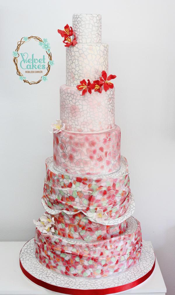 Mosaic Fabric Wedding Cake