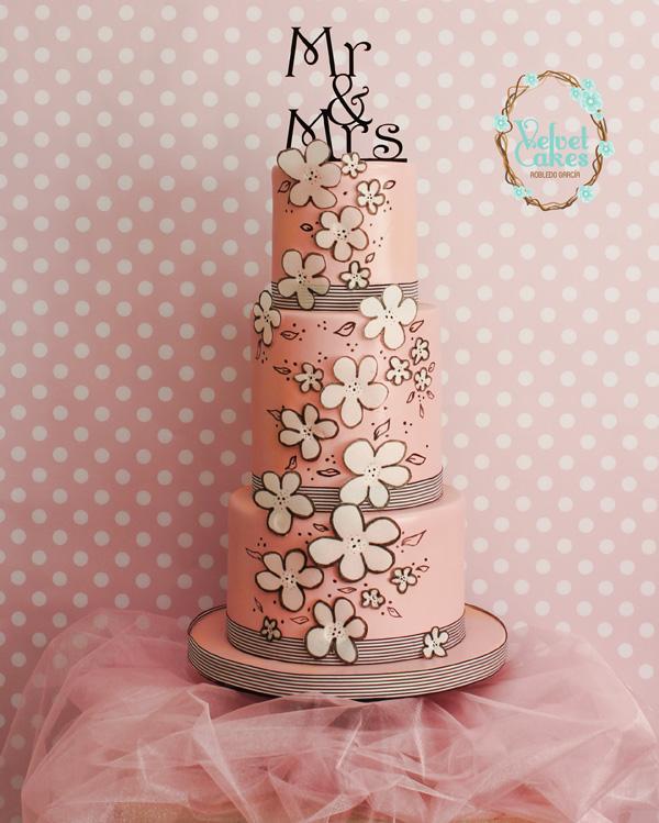 Flower Cutout Wedding Cake
