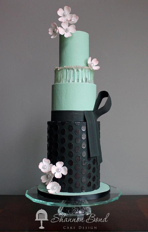 Pastel Green and Black Wedding Cake
