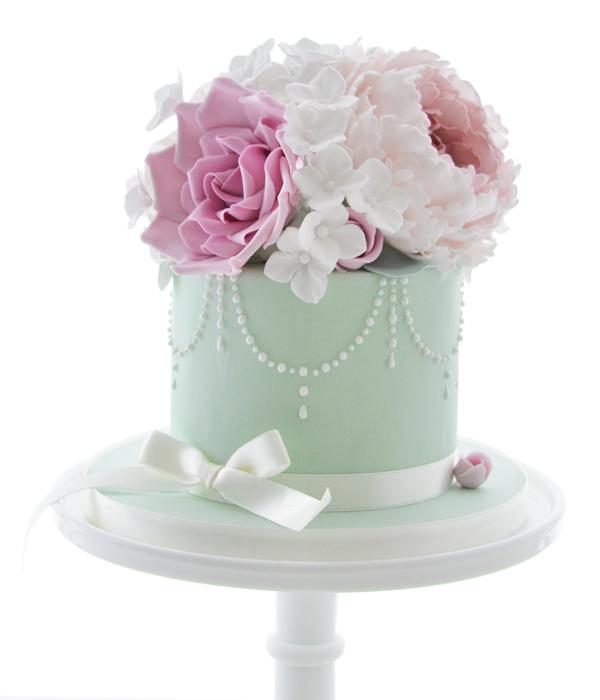 Elegant pastel green Floral Cake