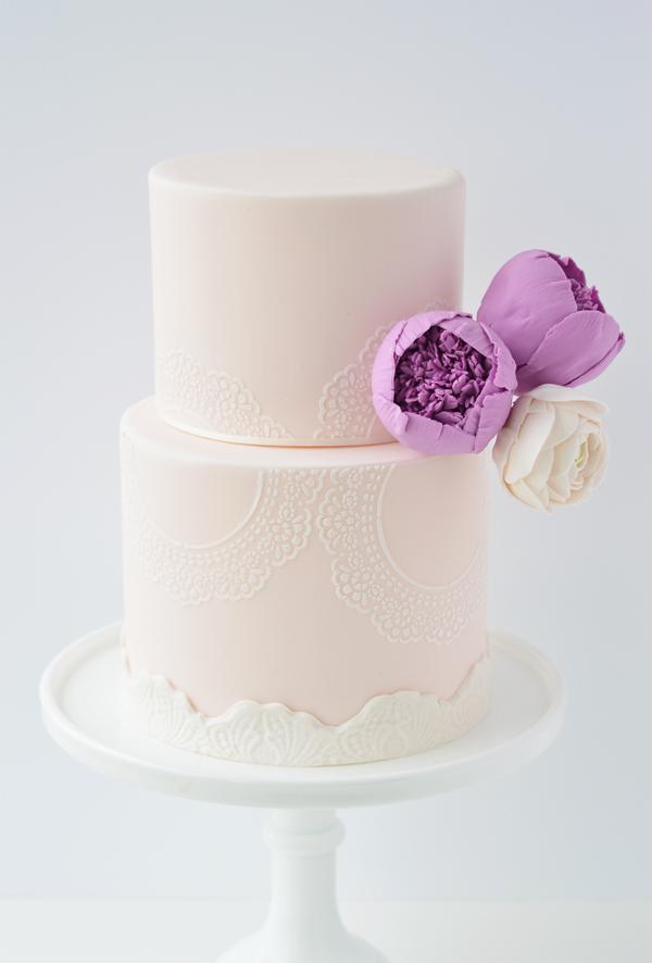 All baby pink wedding cake