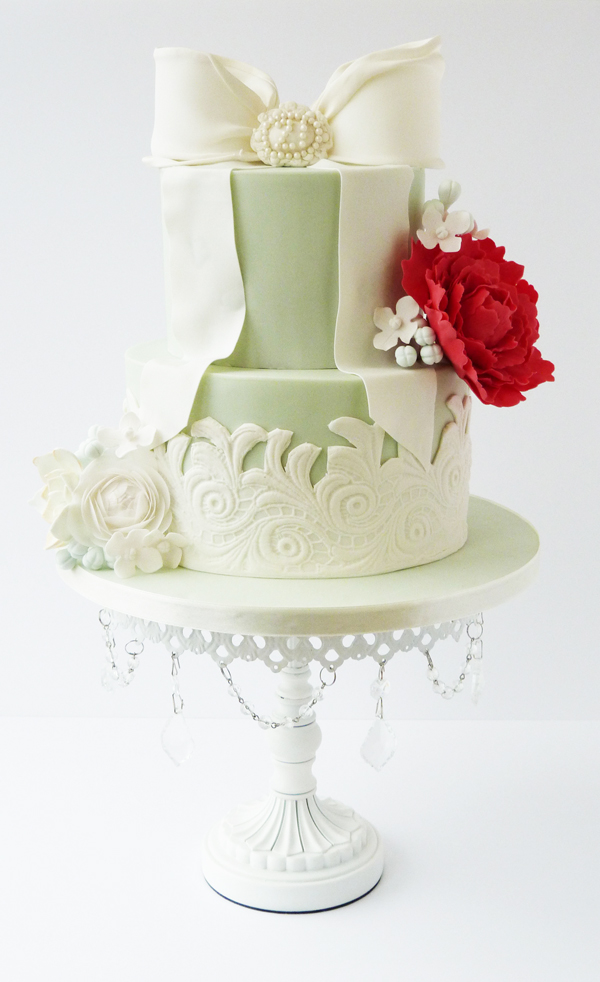 Pastel Green Floral Bow Cake