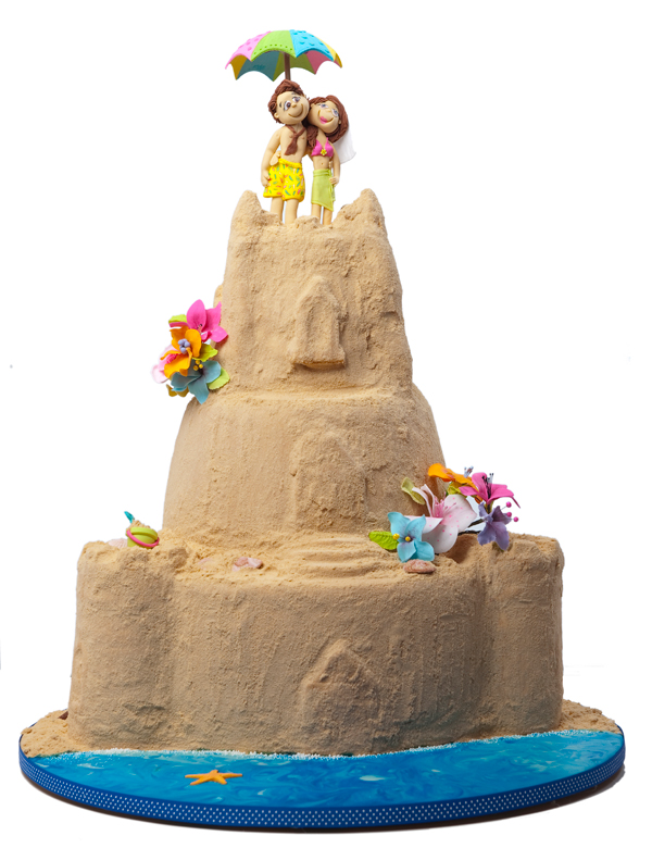 Sand Castle Couple Cake