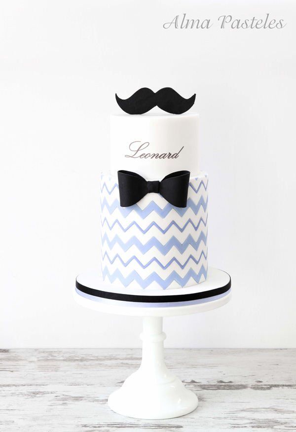 Bowtie & Mustache Cake