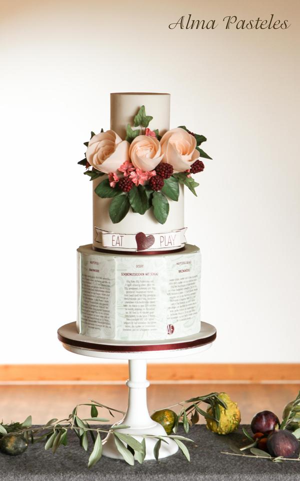 Poetic with peach sugar flowers Wedding Cake