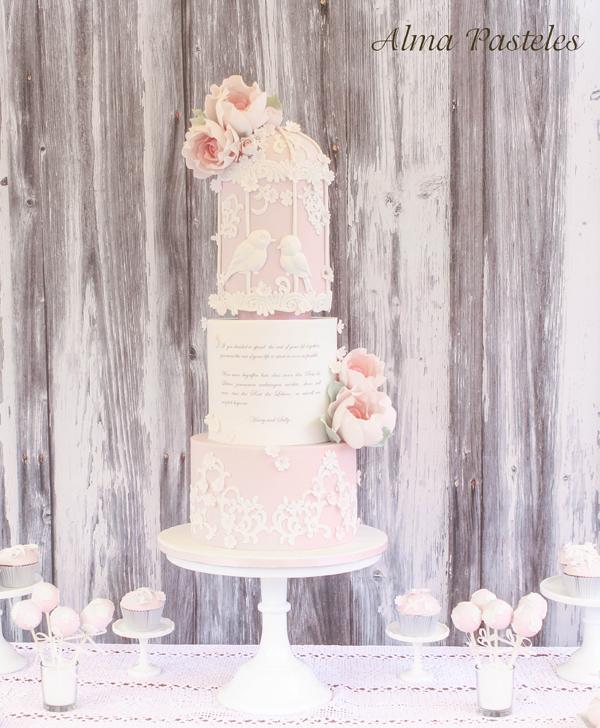 Baby pink Floral Birdcage Wedding Cake