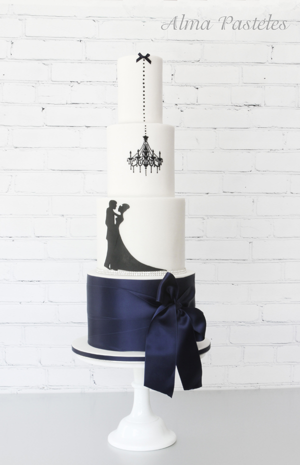 Navy & White Wedding Cake