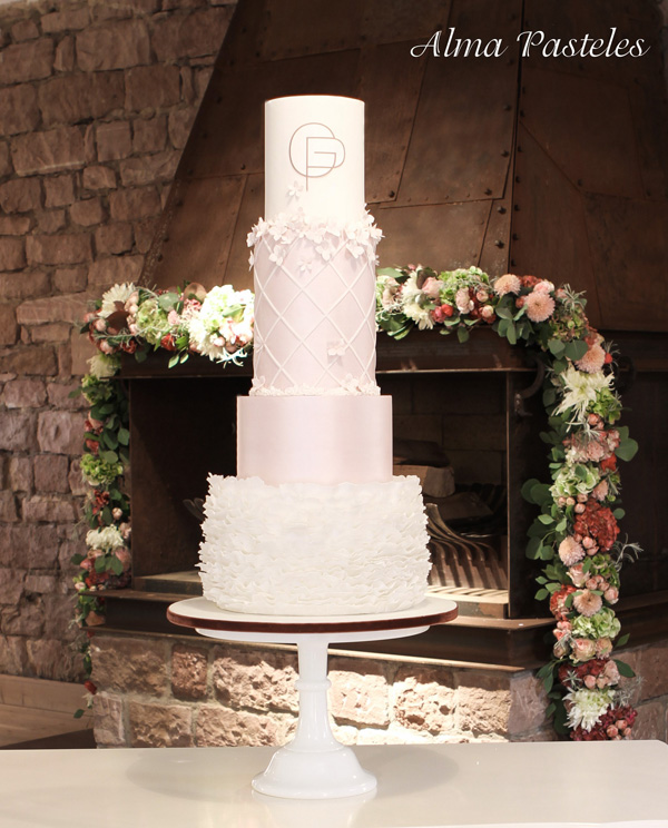 White & Baby Pink Wedding Cake