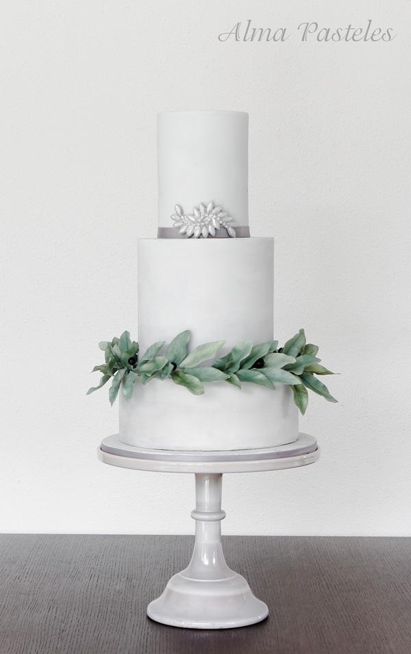White Eucalyptus Wedding Cake