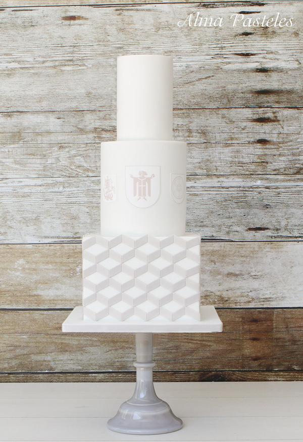 White Chevron Crest Wedding Cake