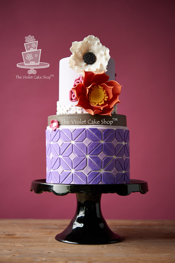 Flowers & Geometric Design Cake