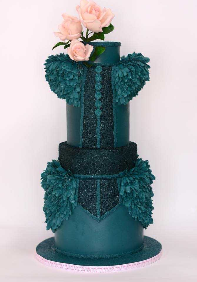 Forest green ruffled fashion cake