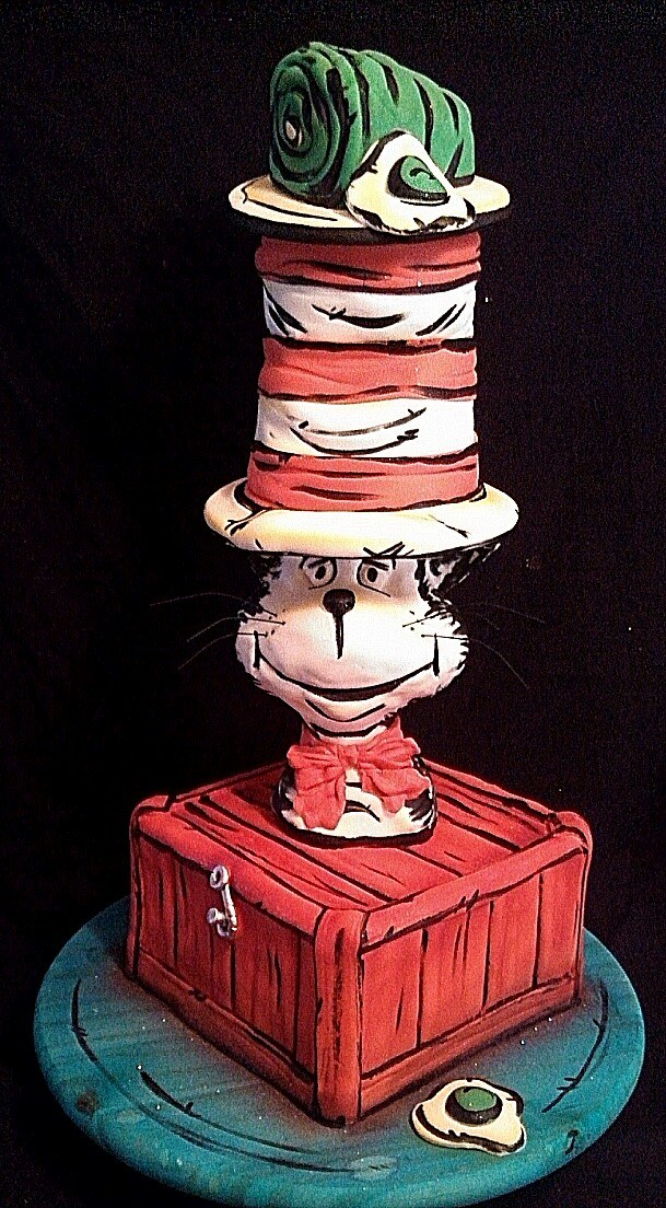 Cat in the hat airbrushed cake