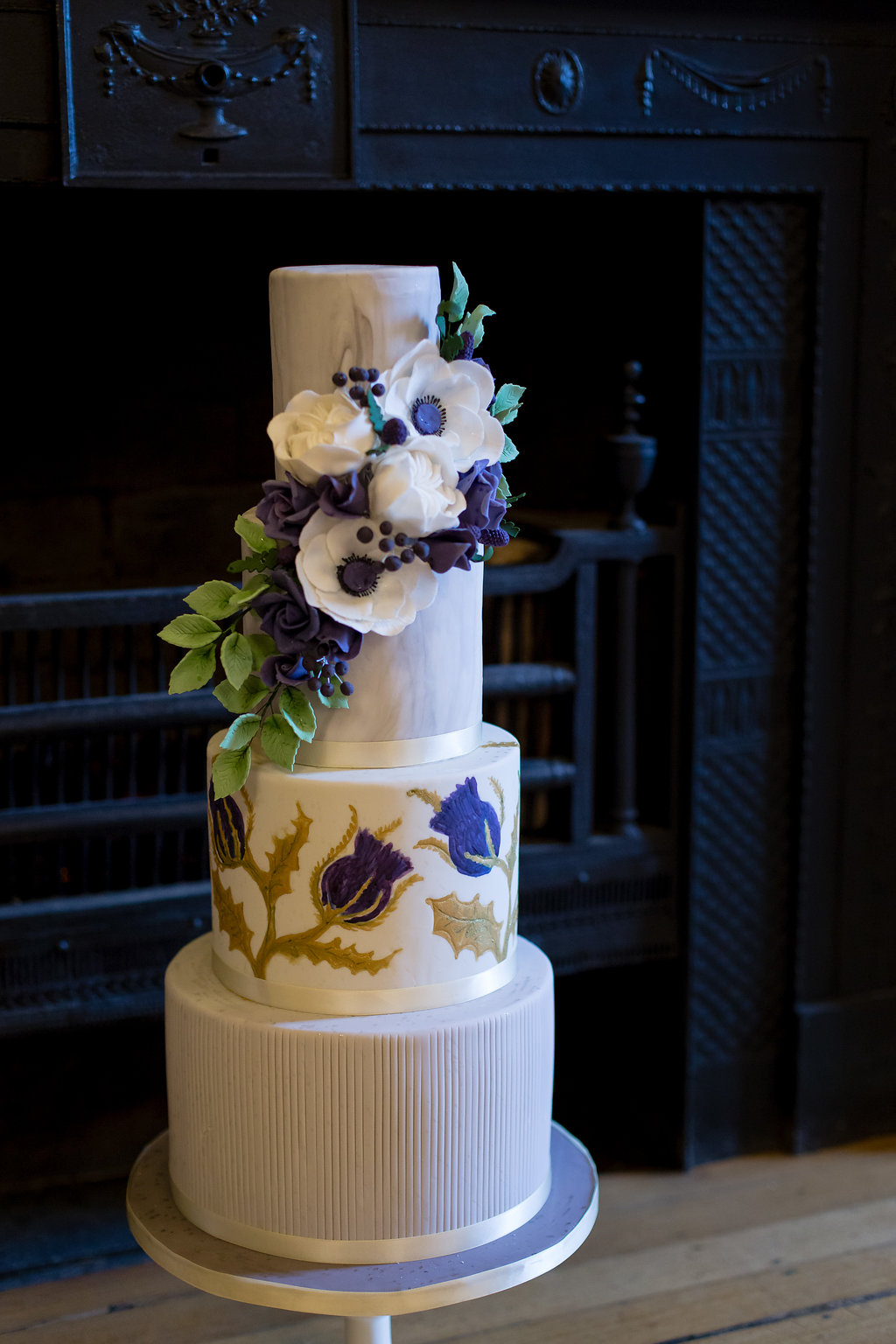 Floral Thistle Ivory and purple wedding cake