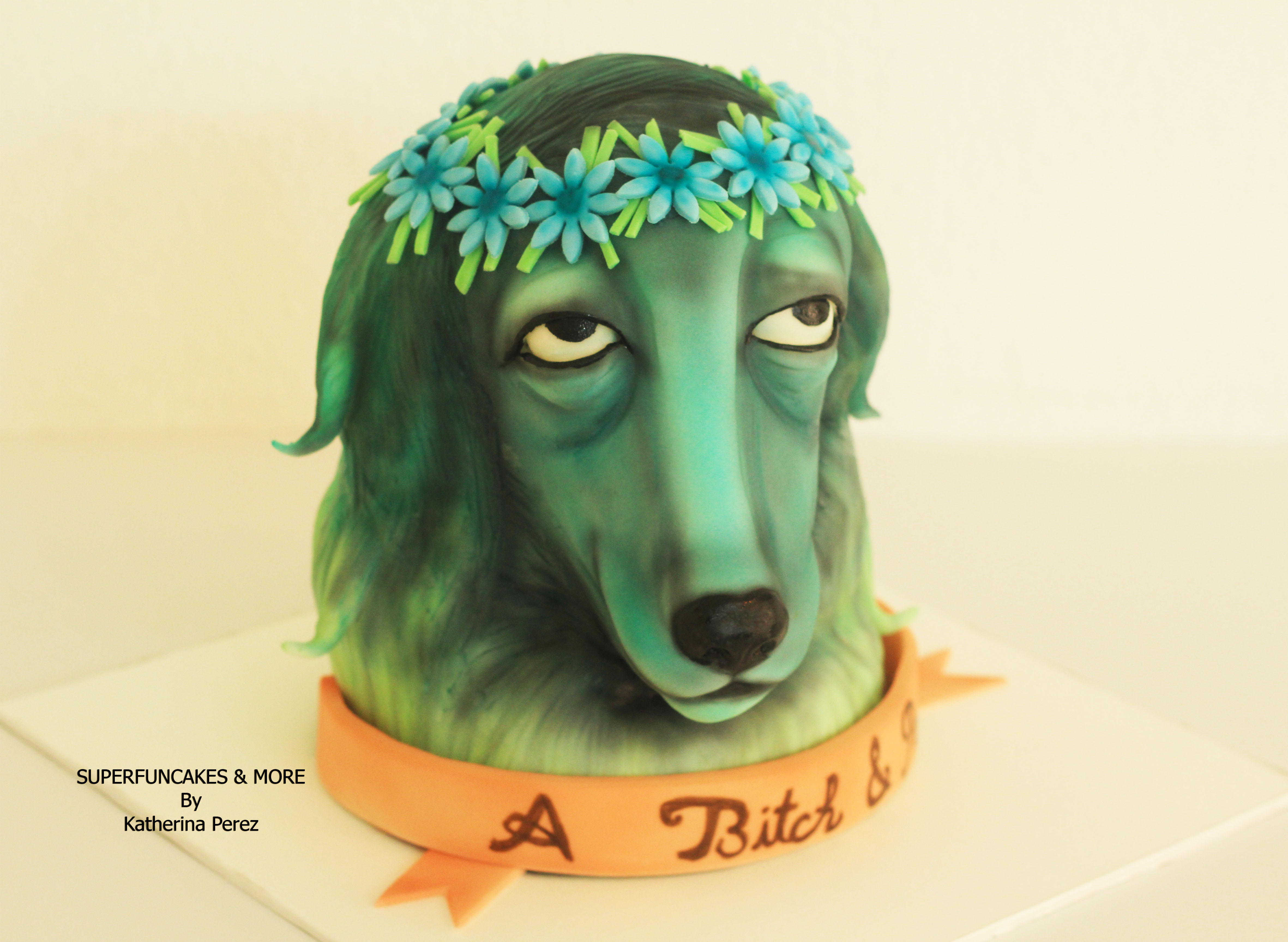 Sculpted lady dog with flowers