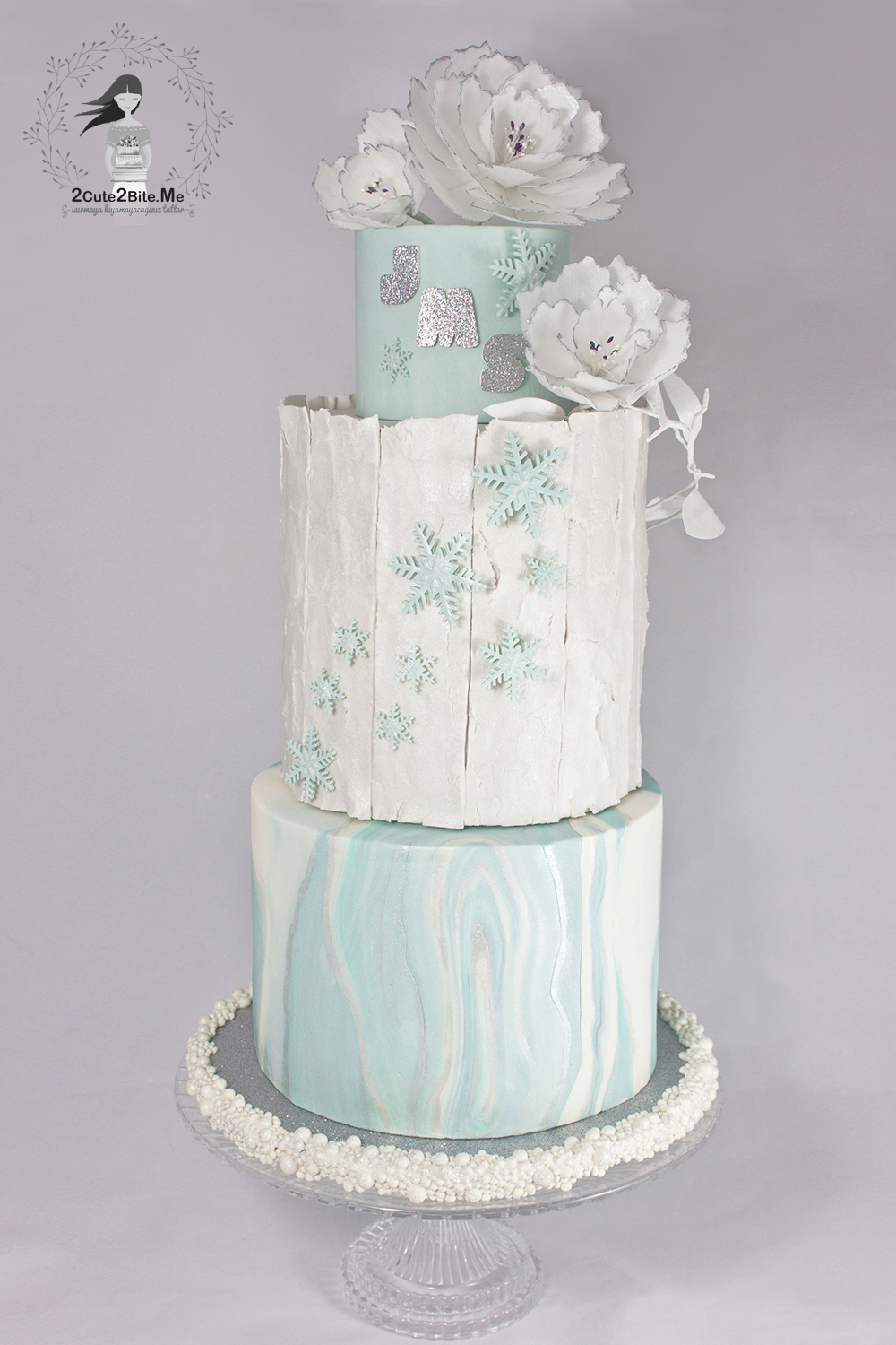 Icy blue Winter Wonderland Wedding Cake