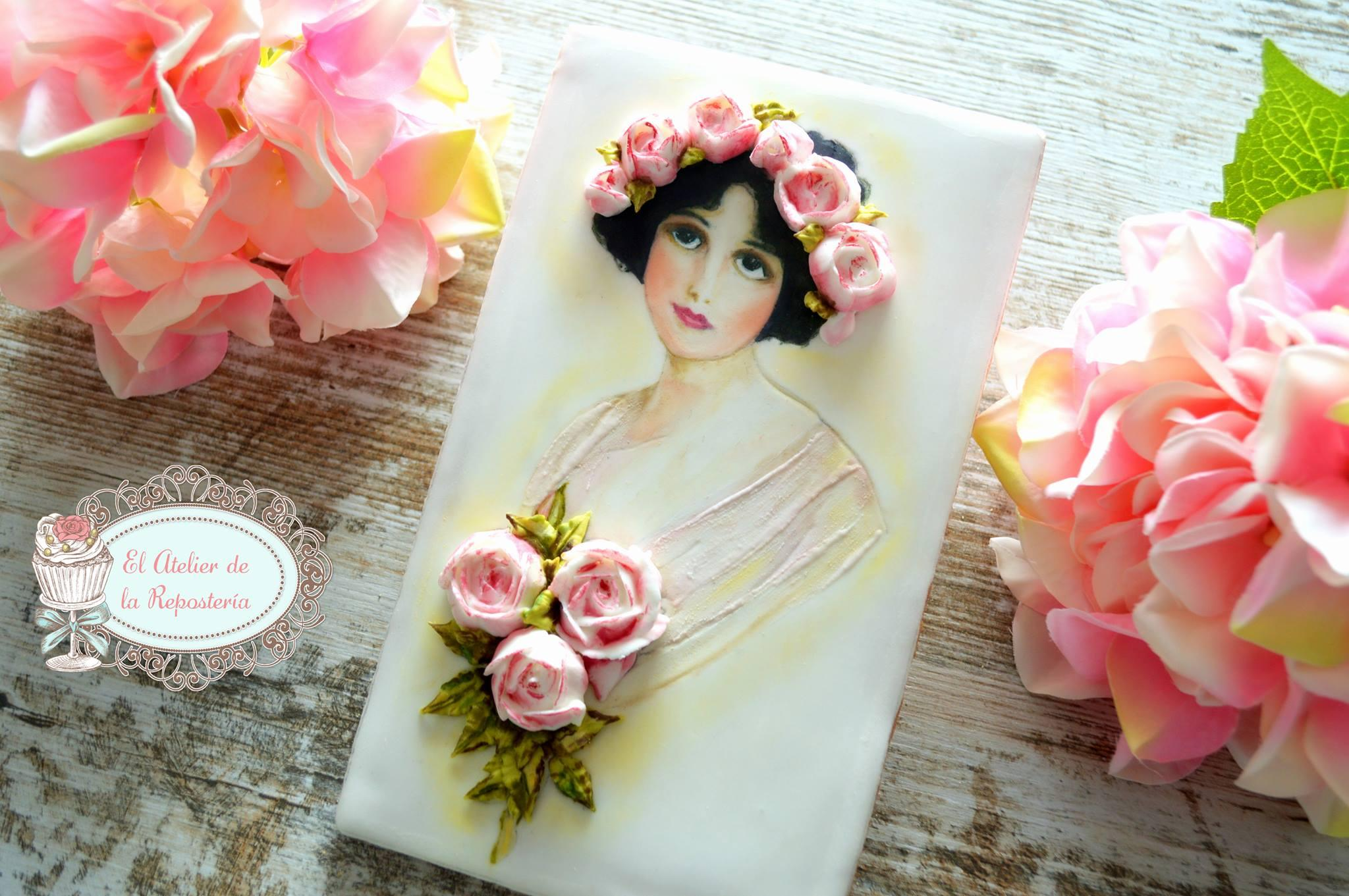 Hand painted bride cookie