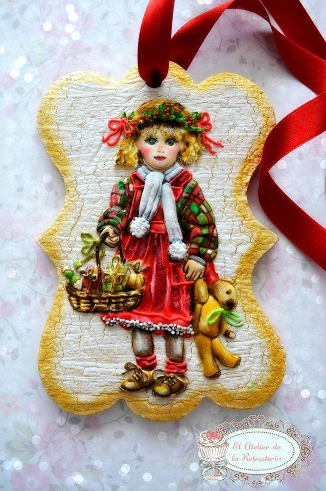Hand painted Christmas girl cookie