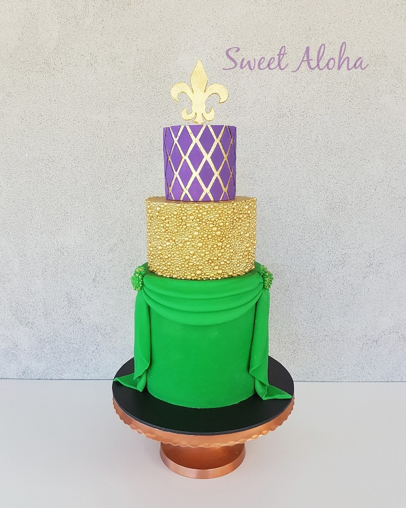 Mardi Gras themed wedding cake