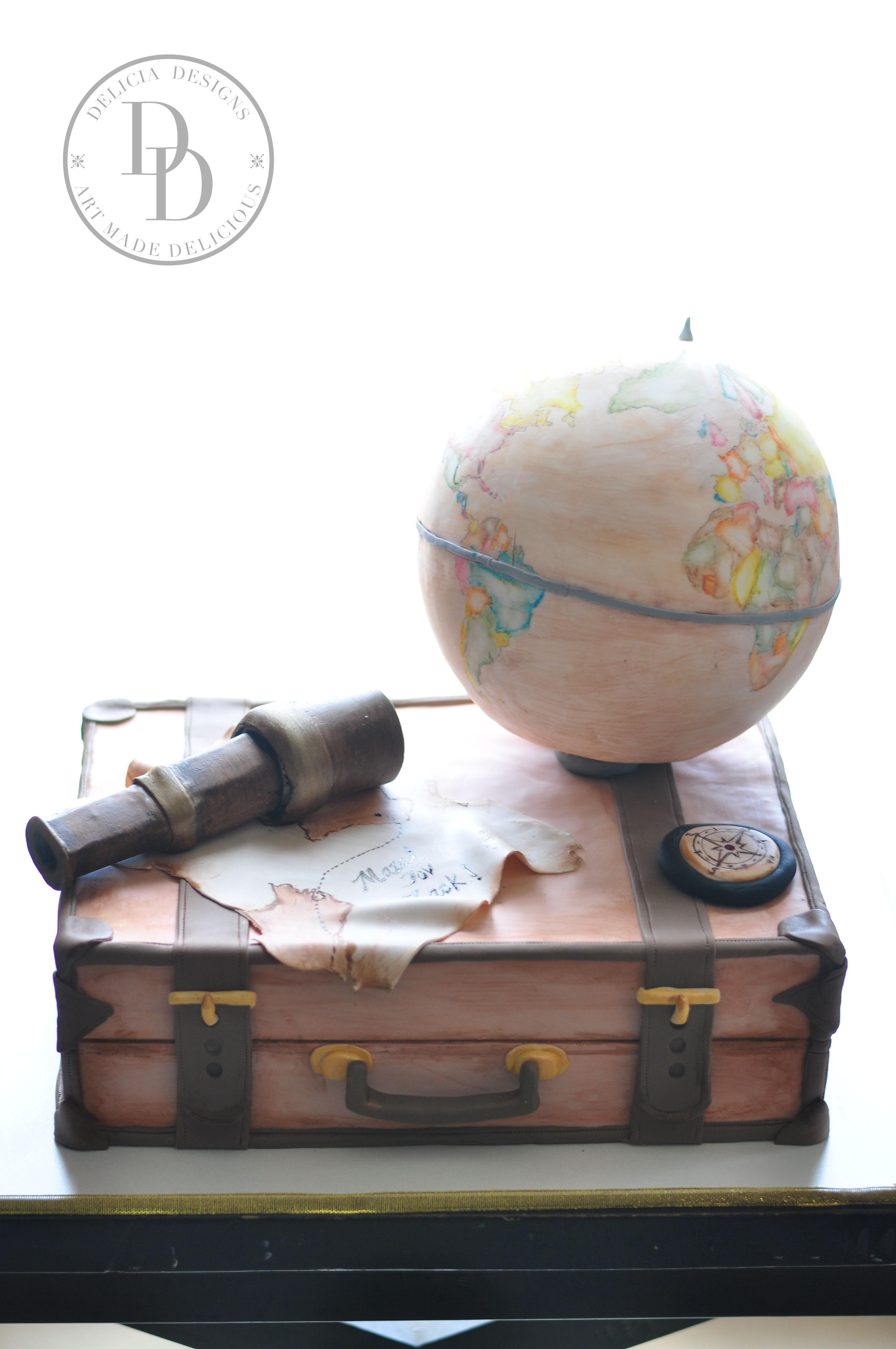 World travel suitcase cake