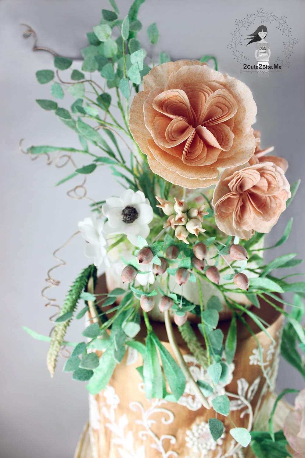 Peach and white wedding sugar flowers
