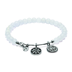 Chrysalis Guardian White Chalcedony Mantra Expandable Charm Bangle